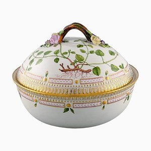 Royal Copenhagen Flora Danica Large Tureen or Lidded Bowl with Branch-Shaped Handle, 1964