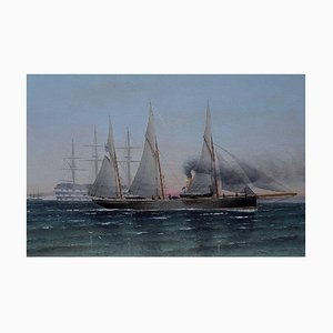 Olio The Navy Oil on Board di Charles Keith Miller, 1888