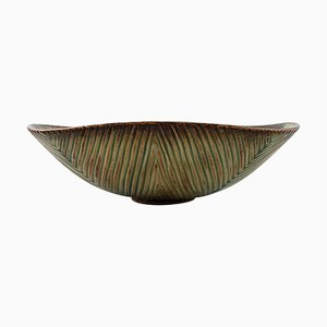 Axel Salto for Royal Copenhagen Bowl of Stoneware in Ribbed Style
