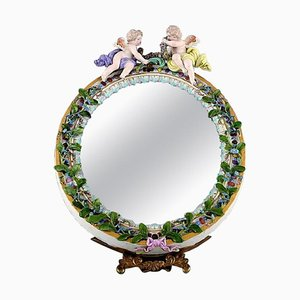 Meissen Porcelain Mirror Decorated with Angels and Repousse Flowers, 1900s
