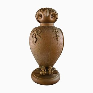 Large Danish Skotterup Owl with Removable Head of Glazed Earthenware