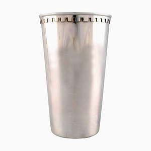 Georg Jensen Large Sterling Silver Vase Bernadotte 1218, 1940s