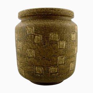 Große Saxbo Vase aus Steingut mit Glasur in Gelbbraunen Tönen