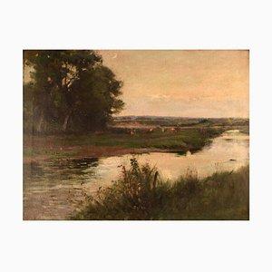 Englische Landschaft mit Grasen Kühe von Joseph Milne
