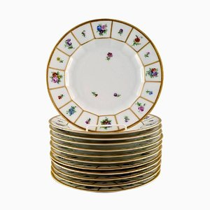 Royal Copenhagen Hand-Painted Porcelain Henriette Lunch Plates, Set of 12
