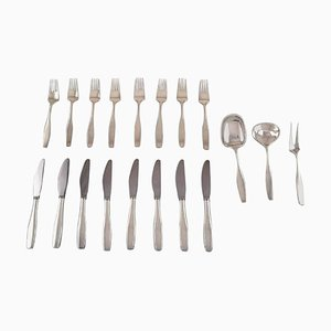 Hans Hansen Charlotte Cutlery in Sterling Silver, 20th Century, Set of 19