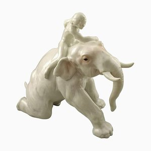 Seltene Figurgruppe mit Mahout und Elefant von Bing & Grondahl, 1919