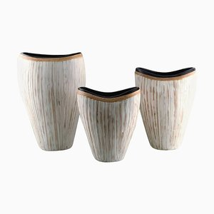 Large Modern Pottery Vases in Light Glaze and Wickerwork, Set of 3