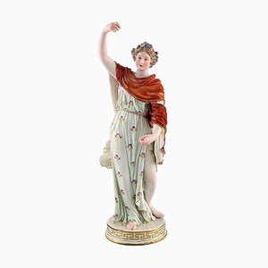 Meissen Porcelain Figurine Woman in Colorful Dress with Floral Wreath