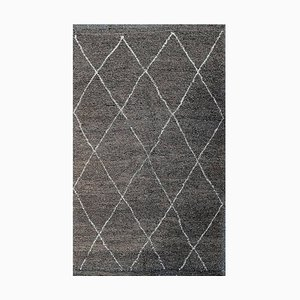Hand-Knotted Beni Ourain Moroccan Tribal Rug Made of Grey Wool