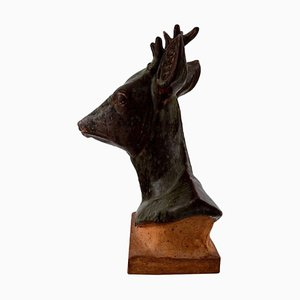 Karl Otto Johansen Deer Head Large Figurine of Stoneware