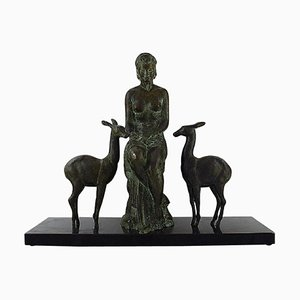 Large French and Belgian Art Deco Sculpture in Solid Bronze