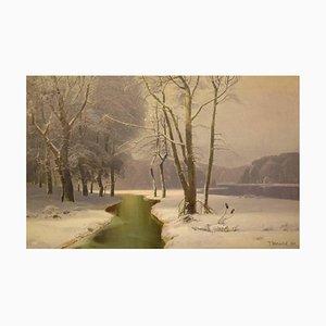 Winterlandschaft auf Öl auf Leinwand von J. Holmsted, 1889