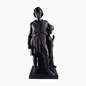 Große antike Skulptur aus schwarzem Terrakotta von L. Hjorth & Bertel Thorvaldsen