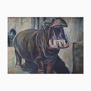 Nilpferd Öl auf Leinwand von Pierre Noyelle