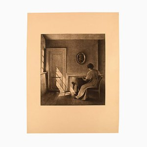 Interior with Woman Rare Etching by Peter Ilsted