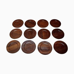 Rosewood Cover Plates by Jens Quistgaard for Kronjyden, 1960s, Set of 12