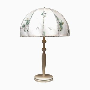 Large Art Deco Table Lamp with Fabric Screen by Josef Frank for Swedish Tenn, 1940s