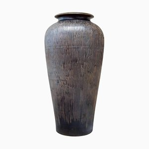 Monumental Ceramic Vase in Classic Design Glaze in Brown Shades