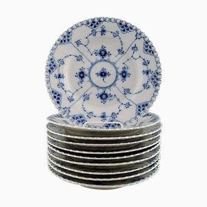 Blaue geriffelte Royal Copenhagen Mittagsplätzchen Nr. 1085, 20. Jahrhundert, 10er Set