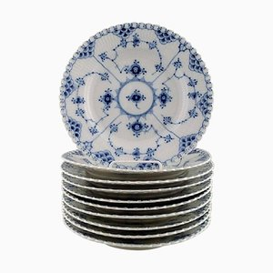 Royal Copenhagen Blue Fluted Lunch Plates Number 1085, 20th Century, Set of 10