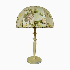 Large Table Lamp with Cream-Colored Floral Screen by Josef Frank for Swedish Tenn