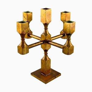 Swedish Gusum Metal 5-Light Candleholder in Brass