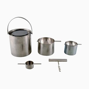 Cylinda Line Ice Bucket, Ashtrays & Corkscrew by Arne Jacobsen for Stelton, 1970s, Set of 5