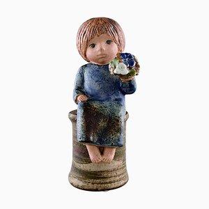 Girl with Flowers in Glazed Ceramic by Lisa Larson for Gustavsberg