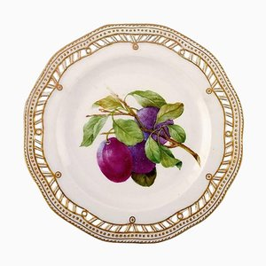 Royal Copenhagen Flora Danica Pierced Dinner Plate with Fruit Motif Plum