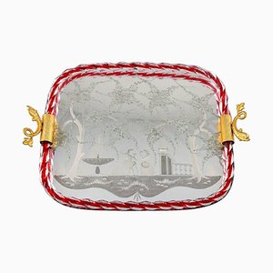 Italian Murano Art Glass Rectangular Tray with Mirror Coating
