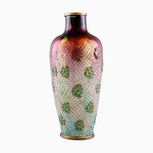 Art Nouveau French Bronze Vase in Enamel Work by Alexandre Marty for Limoges