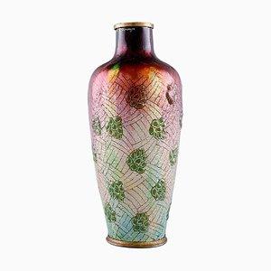 Vase Art Nouveau en Bronze et Email en Émail par Alexandre Marty pour Limoges