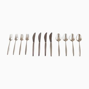 Georg Jensen Sterling Silver Cypress Cutlery, 1940s, Set of 12