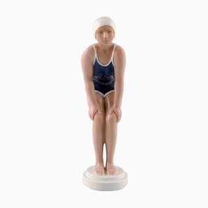 Art Deco Porcelain Figurine of a Swimming Girl from Bing & Grondahl