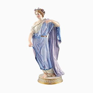 Meissen Porcelain Figurine of Woman in Blue Robes with Floral Wreath in Her Hair