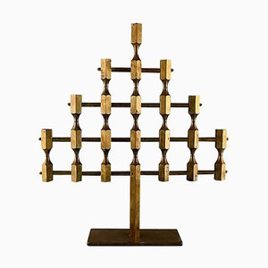 Large Swedish Gusum Metal 7-Light Candleholder in Brass