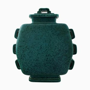 Argenta Large Art Deco Lidded Jar in Stoneware by Wilhelm Kage for Gustavsberg