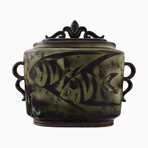 Large Art Deco Flambé Lidded Jar by Gunnar Nylund for ALP Lidköping