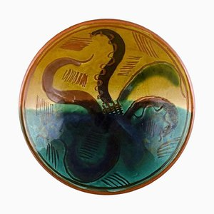 Bowl in Glazed Ceramic with Hand-Painted Octopus by Wilhelm Kåge for Gustavsberg