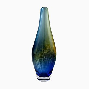 Large Sven Palmqvist Kraka Art Glass Vase with Net Pattern for Orrefors