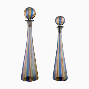 Decanters in Colorful Mouth-Blown Art Glass by Gio Ponti for Murano & Venini, 1960s, Set of 2