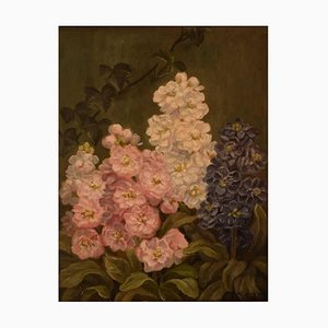 Flower Painting Oil on Canvas by E. C. Ulnitz, 1927