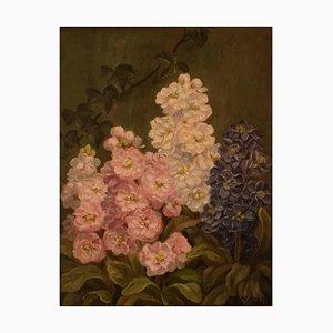 Óleo sobre lienzo de pintura floral de EC Ulnitz, 1927