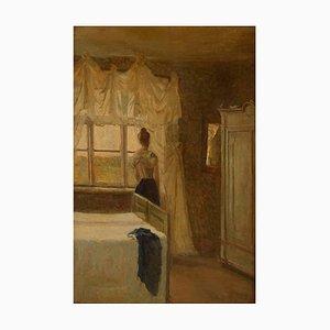 Intérieur de Chambre à Coucher avec une Femme par la Fenêtre