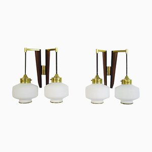 Italian Modern Teak, Brass and Opal Glass Wall Lights by Stilnovo, 1950s, Set of 2