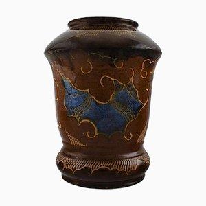 Large Danish Art Nouveau Vase in Glazed Ceramic from Moller & Bøgely, 1920s