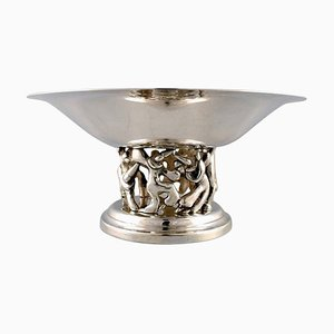 Large French Modernist Compote in Plated Silver by Jean Boggio for Roux-Marquiand