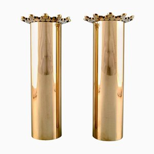 Brass Vases by Pierre Forsell for Skultuna, Set of 2