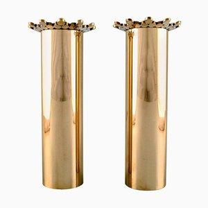 Vasen aus Messing von Pierre Forsell für Skultuna, 2er Set